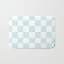 Checkered - White and Light Cyan Bath Mat