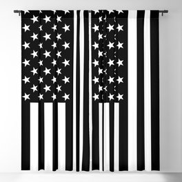 Black and White American Flag Blackout Curtain