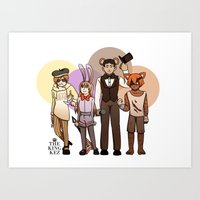 roosterteeth Art Prints featuring Five Nights at CFVY's by TheKingKez