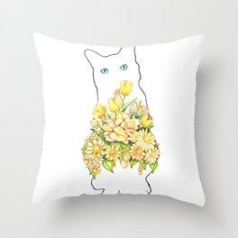 Tall White Cat Throw Pillow