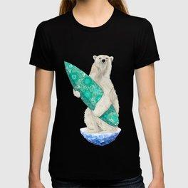 Polar bear & Surf (green) T-shirt