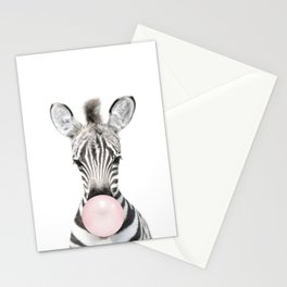 Bubble Gum Zebra Stationery Cards