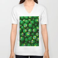 brazil V-neck T-shirts featuring BRAZIL FOOTBALLS by AMULET
