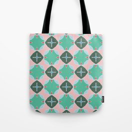Keats green trinkets on pink Tote Bag