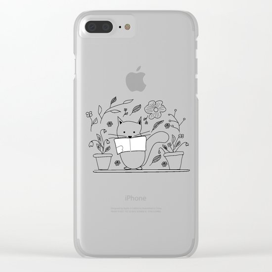 Cat between the flowers Clear iPhone Case