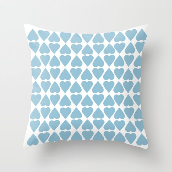 Diamond Hearts Repeat Blue Throw Pillow