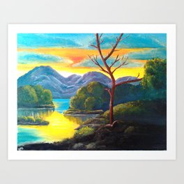 Lakeside Sunset Art Print