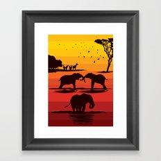 Elephant evening Framed Art Print