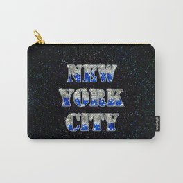 New York City Silver Blue Glitters Carry-All Pouch
