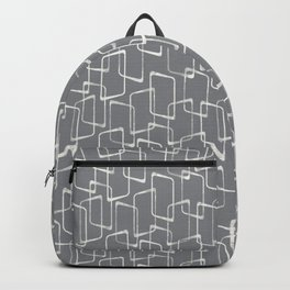 Medium Gray Retro Geometric Pattern Backpack