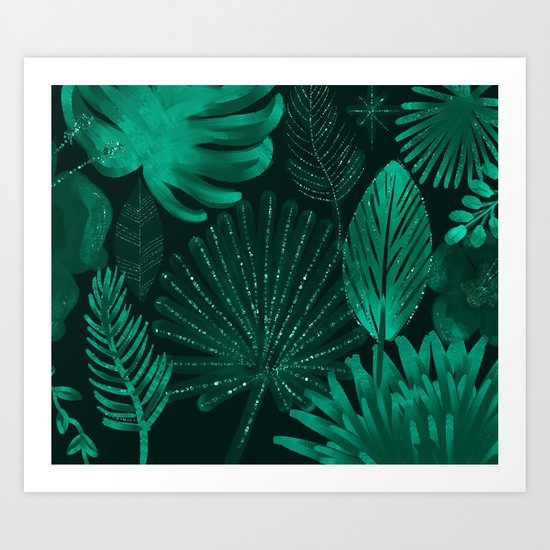 Emerald botanical - tropical ferns and palms Art Print