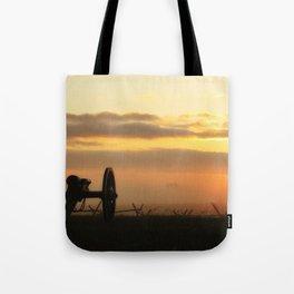 Sunrise on a foggy Battlefield Tote Bag