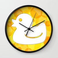 toilet Wall Clocks featuring Toilet - duck by Raquel Basso