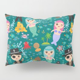 Mermaid with pirate, dark blue sea background Pillow Sham