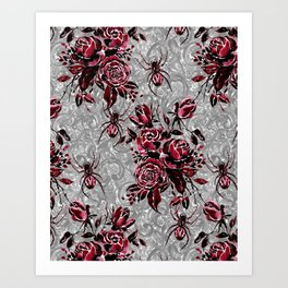 Vintage Roses and Spiders on Lace Halloweeen Watercolor Art Print