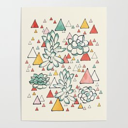 Succulent and triangles seamless pattern Poster