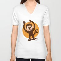 monkey V-neck T-shirts featuring Monkey by BATKEI