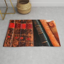 Rustic Antique Library Books Shelf Rug