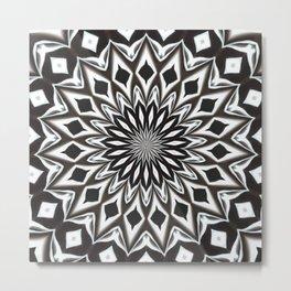 Black And White Decorative Mandala Metal Print