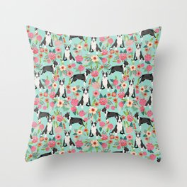 Bull Terrier floral dog breed gifts pet pattern by pet friendly bull terriers Throw Pillow
