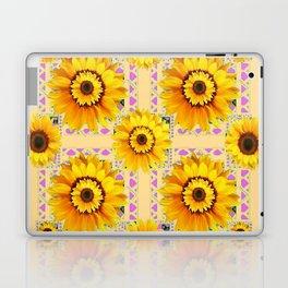 CREAM COLOR WESTERN STYLE YELLOW SUNFLOWERS Laptop & iPad Skin