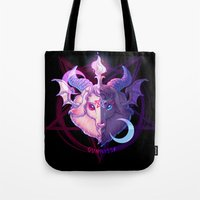 baphomet Tote Bags featuring Baphomet (MIXED) by Gunkiss