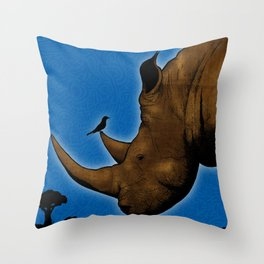 Safari animals - Rhino Throw Pillow