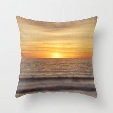 California Sunset Over Ocean Throw Pillow