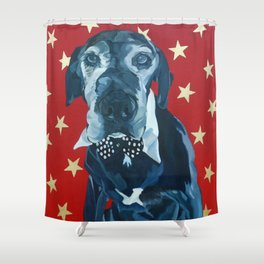 Starry Leonard the Black Lab Dog Portrait Shower Curtain