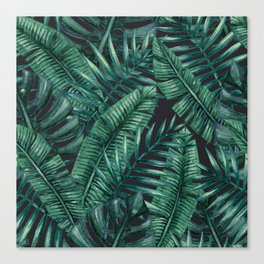 Palm and Banana Leaf Tropical Pattern Canvas Print