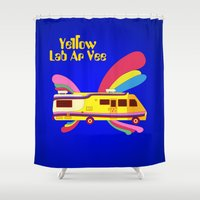 lab Shower Curtains featuring Yellow Lab RV by Nana Leonti