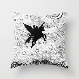 Flight of the alicorn Throw Pillow