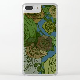 Roses Illustration in Green and Blue Clear iPhone Case