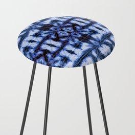 Blue Oxford Shibori Counter Stool