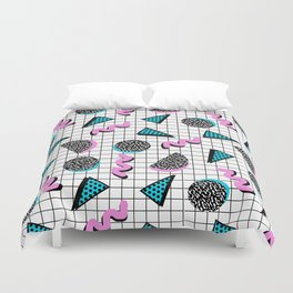 It's Casual - memphis throwback retro neon squiggle grid shapes geometric black and white modern art Duvet Cover