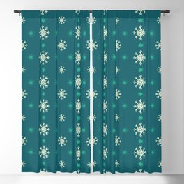 Green Christmas stars and snowflakes Blackout Curtain