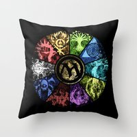 magic the gathering Throw Pillows featuring Magic the Gathering - Faded Guild Wheel by omgitsmagic