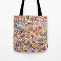 emoji Tote Bags featuring emoji / emoticons by Marta Olga Klara