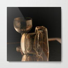 Glasses in Gold Tones Metal Print