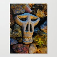 minerals Canvas Prints featuring skull and minerals by giol's