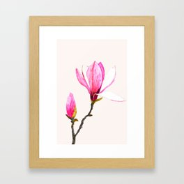magnolia watercolor painting Framed Art Print
