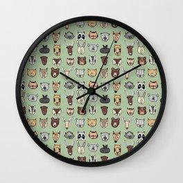 Wild Animal Portraits Green Texture Wall Clock