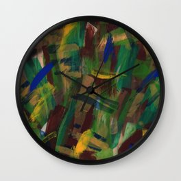 Blue, Green and Brown on Board Wall Clock