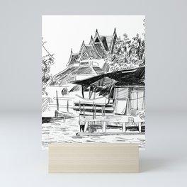 Temple and Home - A Scene on a Bangkok Klong Mini Art Print