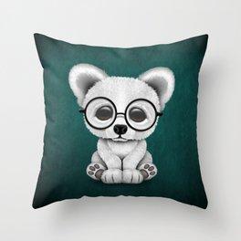 Cute Polar Bear Cub with Eye Glasses on Teal Blue Throw Pillow