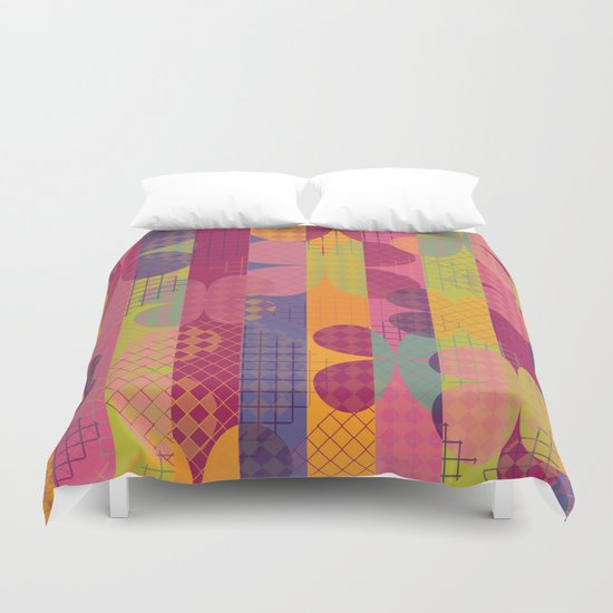 Abstract Colorful Floral Pattern Duvet Cover