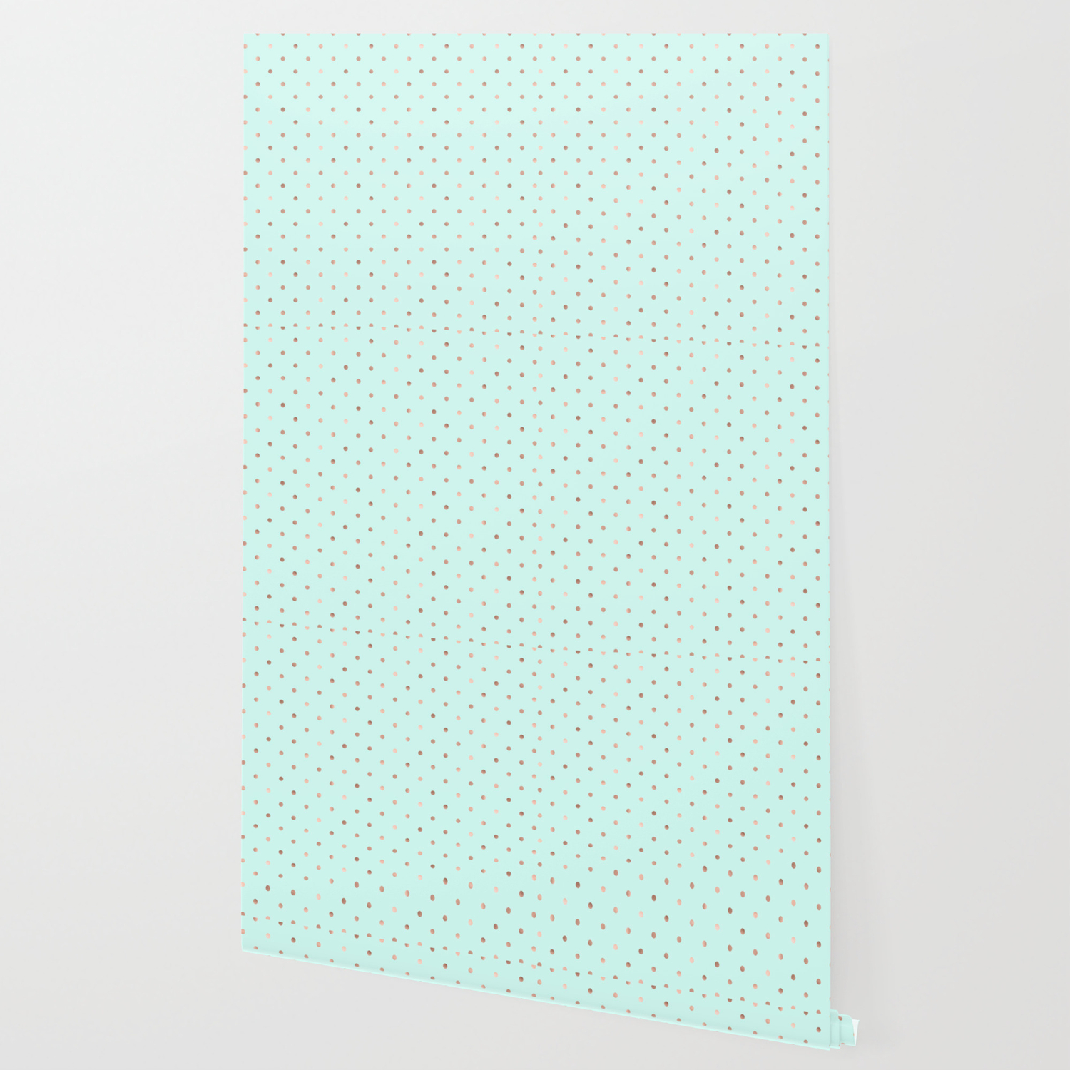 Mint Rose Gold Polka Dot Pattern Wallpaper
