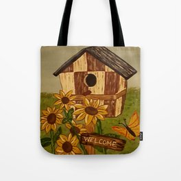 Sunflower and Birdhouse Tote Bag