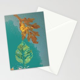 Two leaves, painted acrylic Stationery Cards