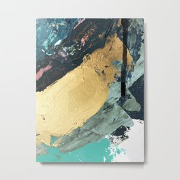 Supernova: an abstract mixed media piece in gold with blues, greens, and a hint of pink Metal Print